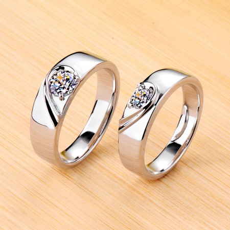 Matching Heart Moissanite 925 Sterling Silver Plated Platinum Promise/Wedding/Engagement Couple Ring