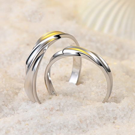 Mobius Design 925 Sterling Silver Promise Ring For Her and His Couple Rings