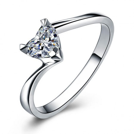 0.5CT Heart Cut Created White Sapphire Rhodium Plated 925 Sterling Silver Women's Promise Ring/Engagement Ring