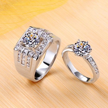 Personalized 925 Sterling Silver Plated Platinum Promise Wedding Engagement Couple Ring