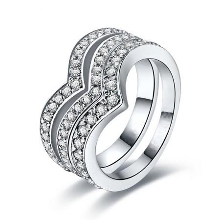 Moissanite V-Shaped 925 Sterling Silver Lady's Ring