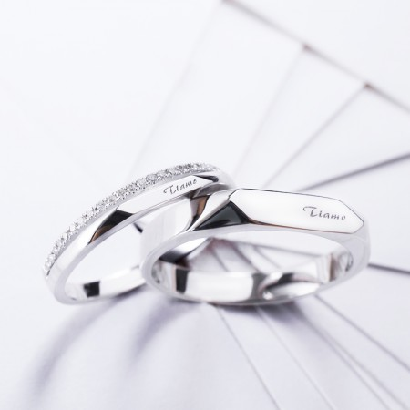 New 925 Sterling Silver Creative Lettering Platinum Plated Cubic Zirconia Lovers Rings