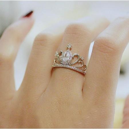 Fashionable Full Diamond Crown-Shape Lady's Ring