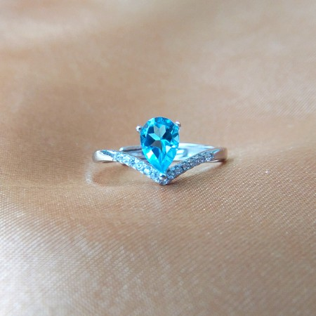 925 Silver Blue Water Droplets Zircon Crown Ring