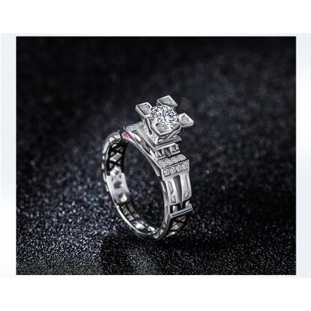 18k White Gold-PlatedAi Eiffel Tower Sterling Silver Wedding Ring