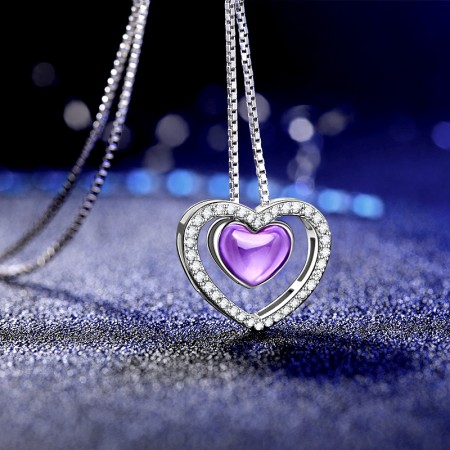 Simple Elegant S925 Silver Inlaid CZ Heart-Shaped Necklace