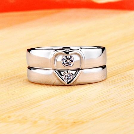 Heart-Shaped Promise/Wedding/Engagement 925 Sterling Silver Plated Platinum Couple Ring