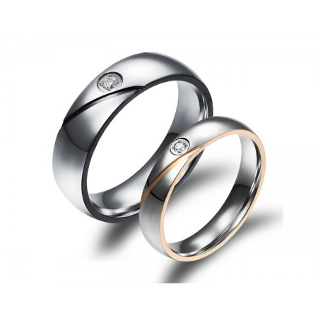 The New Diamond  Titanium Steel Couple Rings