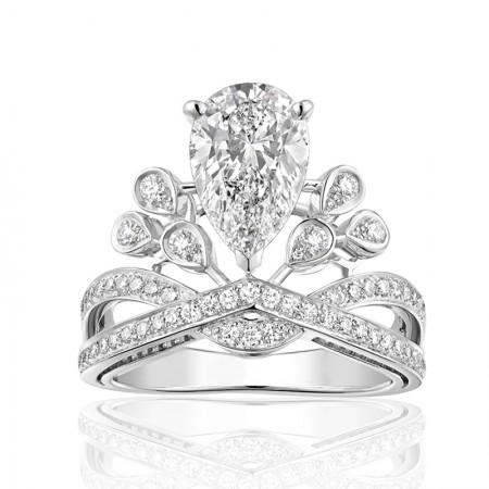 Luxury 925 Sterling Silver Princess Drop Crown Ring