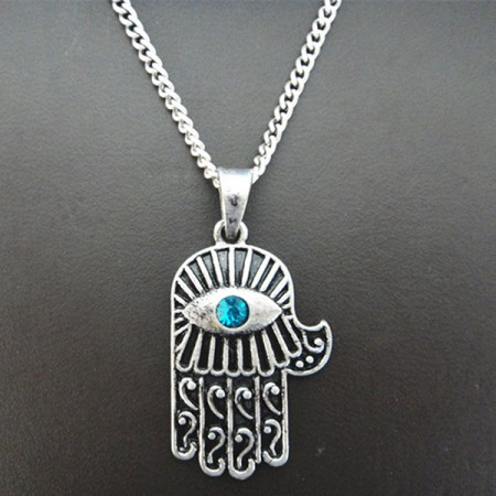 Lucky Hamsa Hand Shape Alloy Necklace With Gemstone