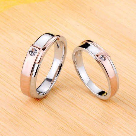 925 Sterling Silver Plated Rose Gold Wedding Promise Engagement Couple Ring