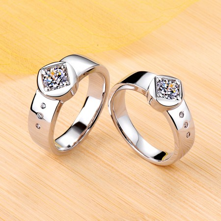 Personalized Promise Wedding Engagement 925 Sterling Silver Plated Platinum Couple Ring