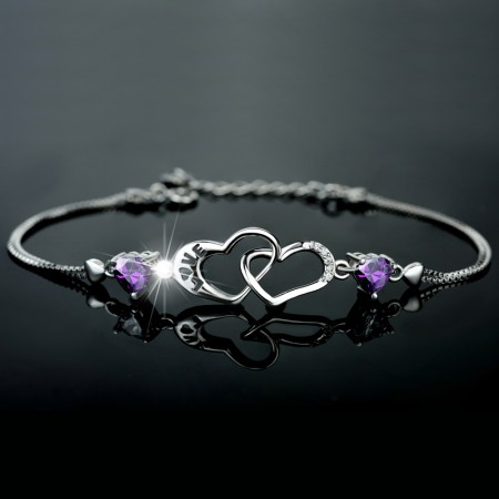 Fashion Double Heart Design Cubic Zirconia 925 Sterling Silver Women's Bracelet