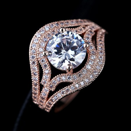 Vintage Round CZ Rose Gold Plated Engagement Ring For Women
