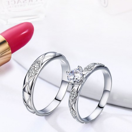 Love Interwined With a Lifetime Commitment 925 Sterling Silver Engagement/ Wedding Rings