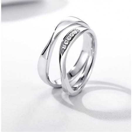 New Arrival 925 Sterling Silver Mobius Strip Zircon Couple Rings