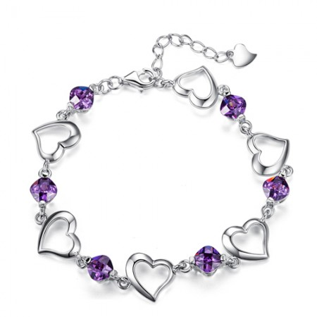 Heart Shape Purple Crystal 925 Sterling Silver White Gold Plated Women's Bracelet