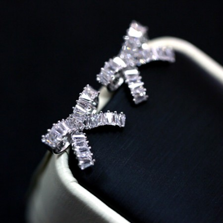 Latest 925 Sterling Silver Sweet Bowknot Shape CZ Stud Earrings