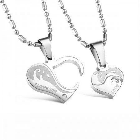 Romantic Heart-shaped Stainless Steel Lover's Necklace(Price For a Pair)