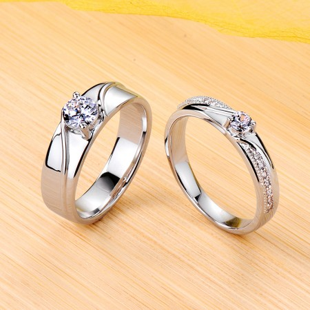 925 Sterling Silver Plated Platinum Promise/Wedding/Engagement Couple Ring
