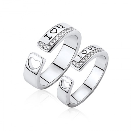 I Love You Adjustable 925 Sterling Silver Rings For Couples