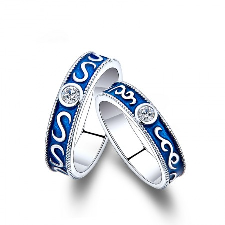 925 Sterling Silver Platinum Plated Vintage Blue Promise Couple Rings