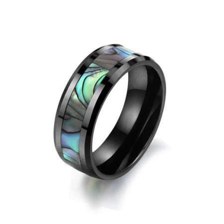 Exquisite Personality Black Ceramics Inlaid Natural Shell Men's Ring