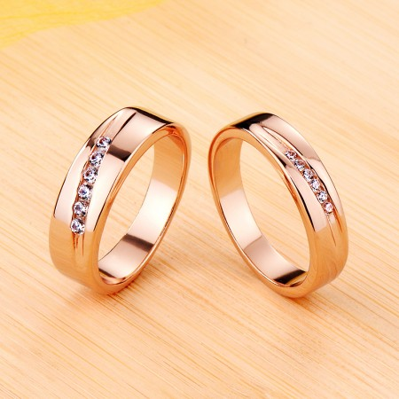 Rose Gold Promise Wedding Engagement 925 Sterling Silver Plated Platinum Couple Ring
