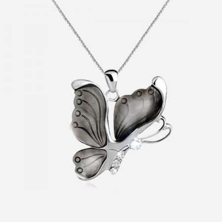 Special Butterfly-shaped Shell Pendant CZ Inlaid 925 Sterling Silver Chain Women's Necklace