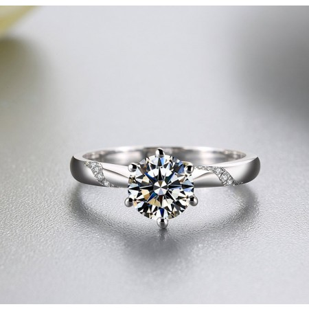 Classic Luxury 1 or 2 or 3 Carats Six Prong Simulated Diamond 925 Silver Platinum Plated