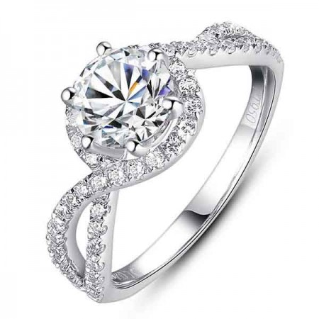 Latest Luxury 925 Silver Diamond Engagement Ring