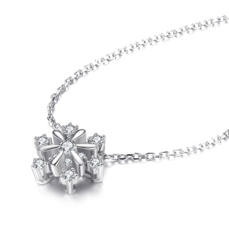 Fashion 925 Sterling Silver Romantic Snowflake  Adjustable Necklace