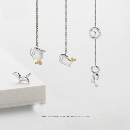 Flying Birds and Fish Or Fish Bubble S925 Sterling Silver One Pair Earrings for Girls Teens Boys Students Women