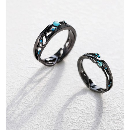 Romantic 925 Sterling Silver Zircon Diamond Black Opening Lover Couple Rings