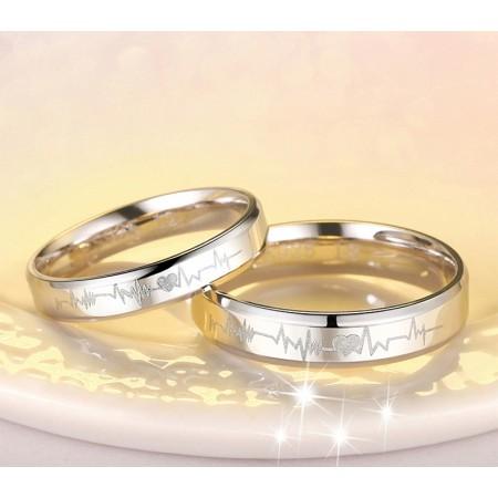 925 Silver Heartbeat Korean Creative Engraved Couple Rings
