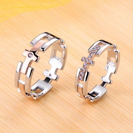 Rose Gold Cross Promise/Wedding/Engagement 925 Sterling Silver Plated Platinum Couple Ring