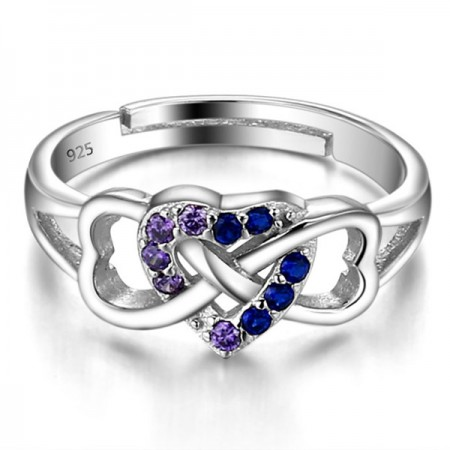 Latest Heart-shaped 925 Sterling Silver CZ Opening Ring For Women