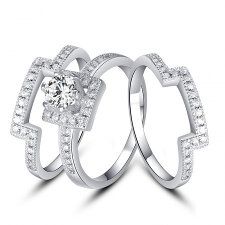 Original New 925 Sterling Silver Inlaid Simulation CZ Engagement Ring Set