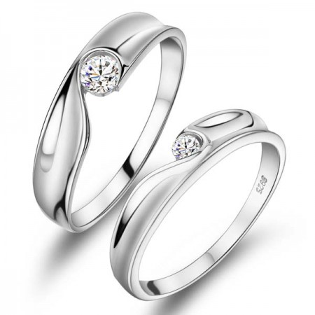 New Sweet Match Heart 925 Sterling Silver Lovers Rings