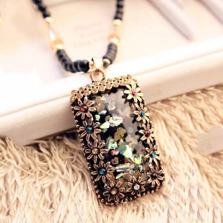 Wonderful Flower Rectangle Design Long Chain Sweater Necklace For Women