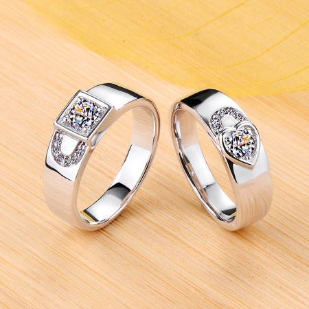 Lock Style 925 Sterling Silver Plated Platinum Promise/Wedding/Engagement Couple Ring