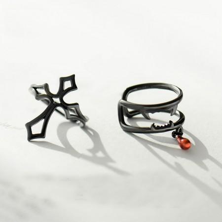 Latin Cross & Vampire Sterling Silver One Pair Black Clip Earrings for Girls Teens Boys Students Women