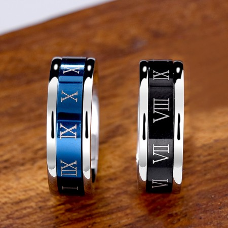 Unisex Black Or Blue Titanium Steel Roman Numerals Spins Ring for Anxiety