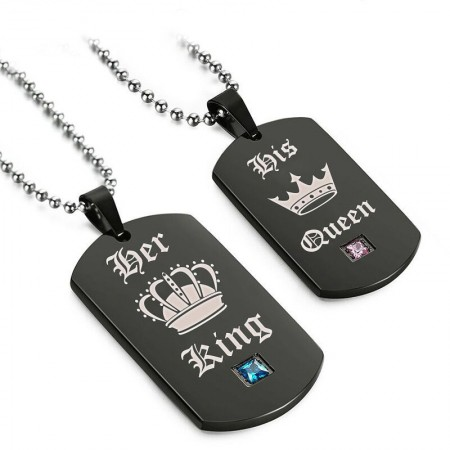 Personalized His Queen And Her King Square Board Lover Necklaces