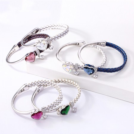 Exquisite Crystalline Sweet Heart Leather Rope Bracelet