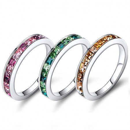Unique Platinum Plated Sterling Silver Ring With a Gradient Of Color For Her