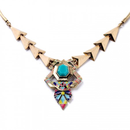 Fashion Metal Retro Geometric Triangular Statement Necklace For Women