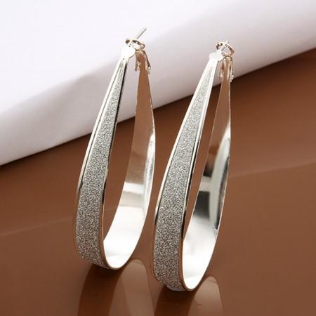 Fashion Matte Hypoallergenic 925 Sterling Silver Hoop Earrings For Women