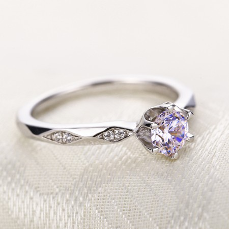 Round Cut Exquisite 925 Sterling Silver Inlay Cubic Zirconia Engagement Ring