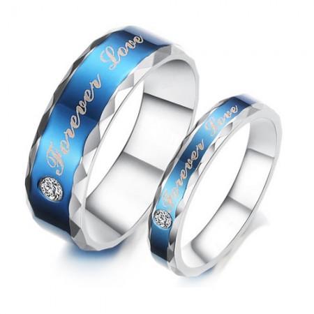 Blue Forever Love Theme 316L Titanium Steel CZ Couple Rings